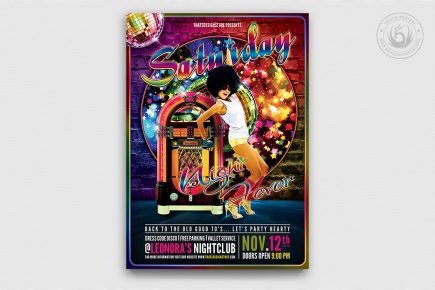 Disco flyer download, Saturday Night Fever Flyer Template