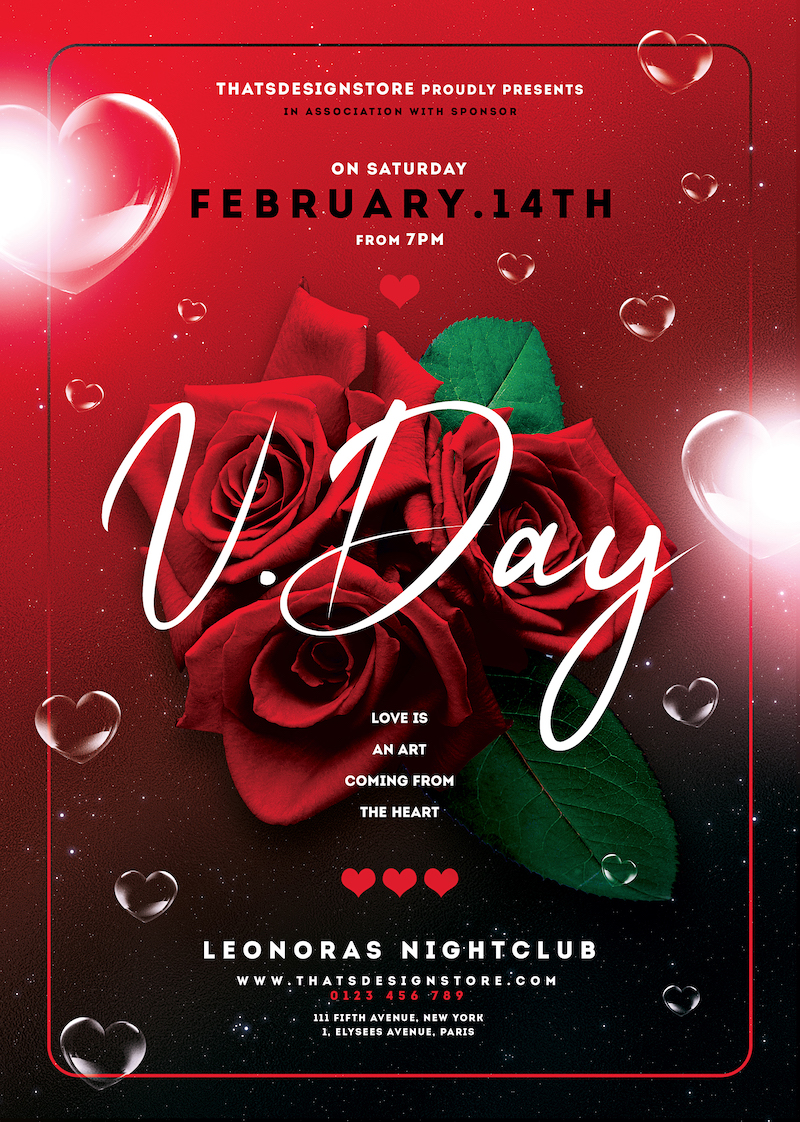 Valentine's Day Flyer Template psd download V20