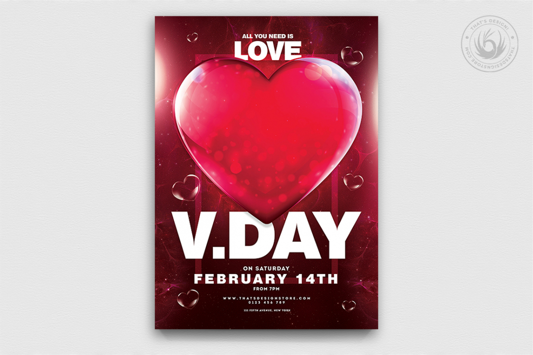 Valentine's Day Flyer Template psd download V21