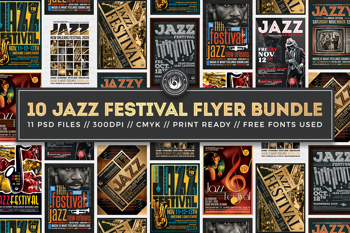 Jazz Festival Flyers Templates psd download