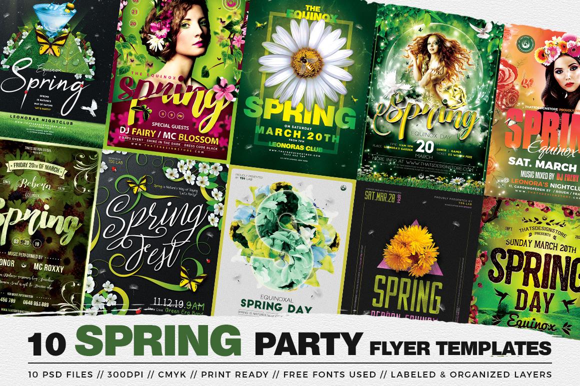 Spring Day Flyer templates Bundle Psd design