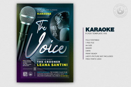 karaoke night flyer templates, psd, club posters, contest, Open mic party