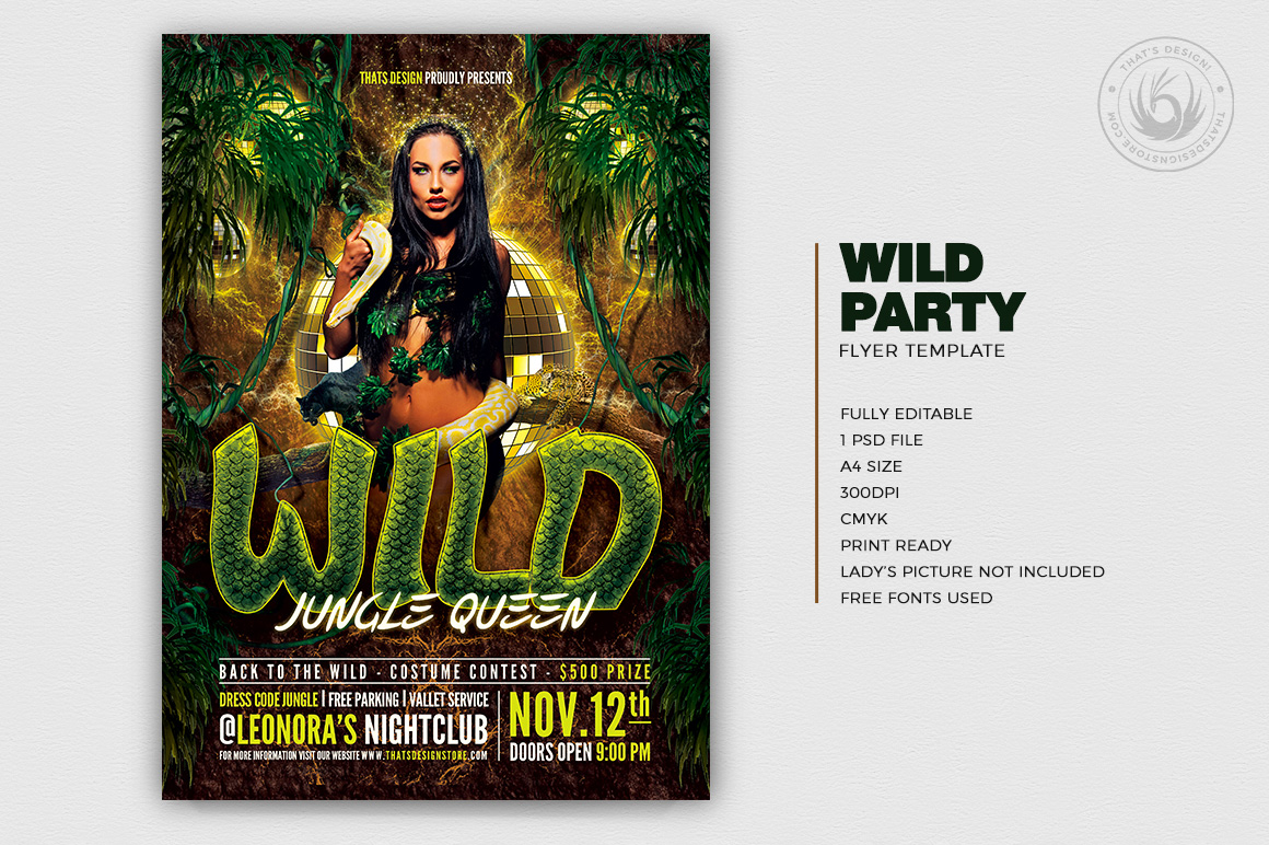 Jungle Party Flyer Template PSD Design download