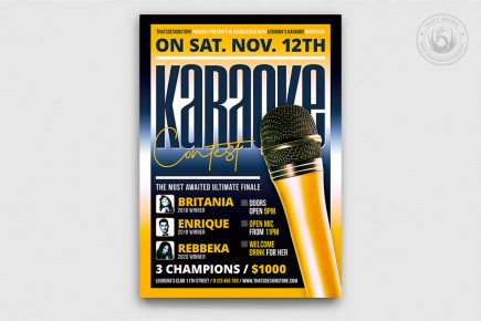 Karaoke Night PSD flyer posters templates, room, bar, contest, Open mic