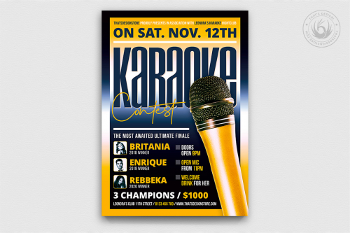Karaoke Night PSD flyer posters templates, room, bar, contest, Open mic