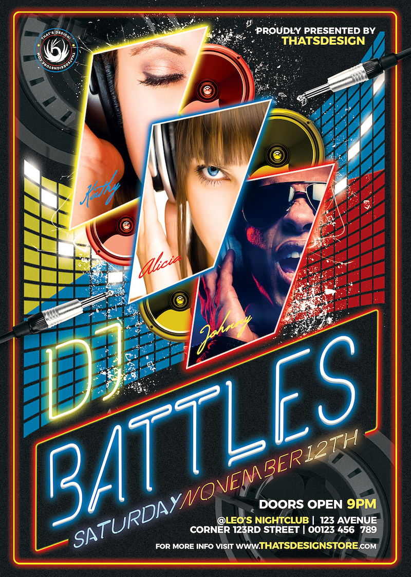 Dj Battle Flyer Template PSD download for photoshop, Electro party poster