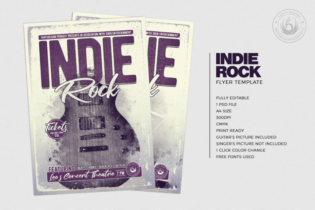 Indie Rock Flyer Template psd V3, Concert posters