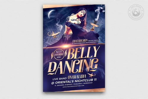 Belly Dancing Flyer Template psd V2 designed to promote an Oriental party, Belly Dance show or courses, Shisha, Arabian Nights or Ramadan Event.