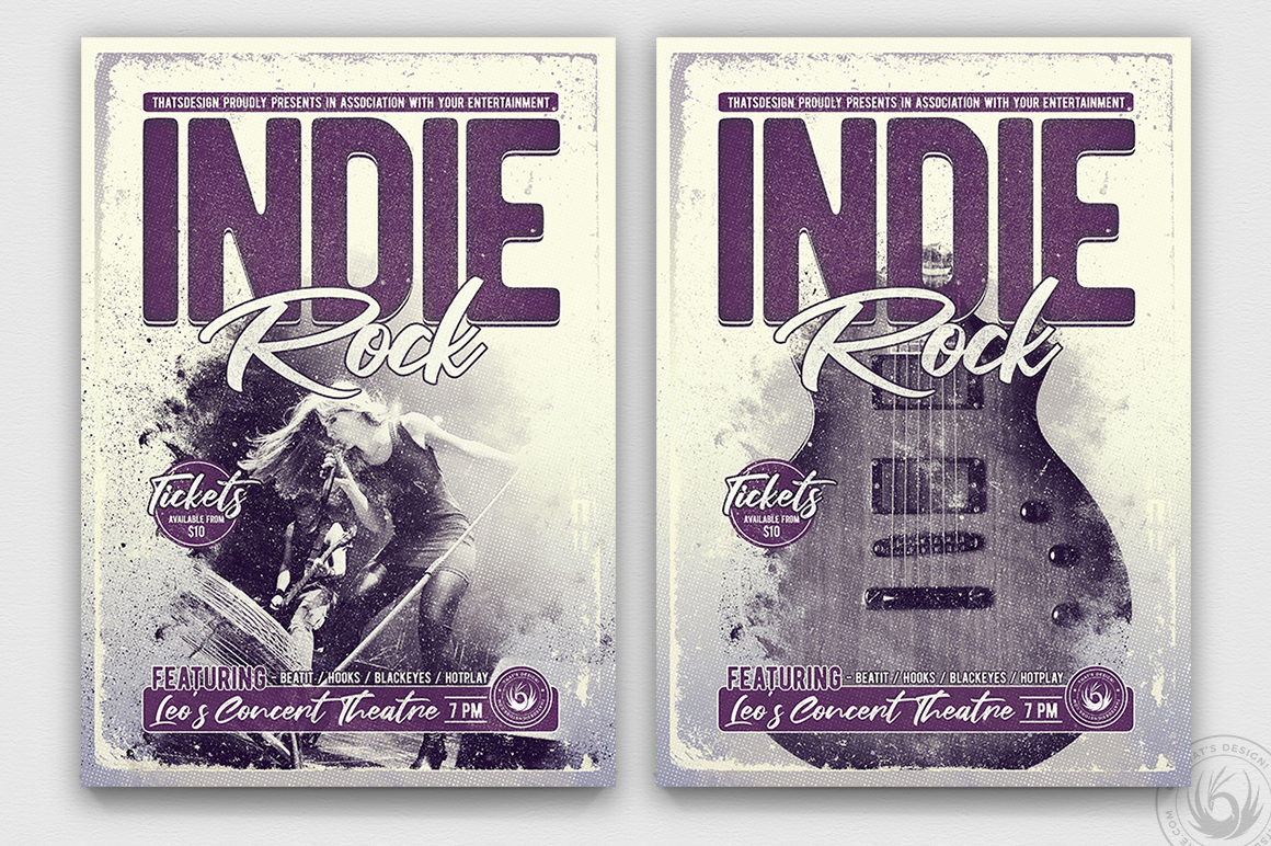 Indie Rock Flyer Template psd V3, Concert posters