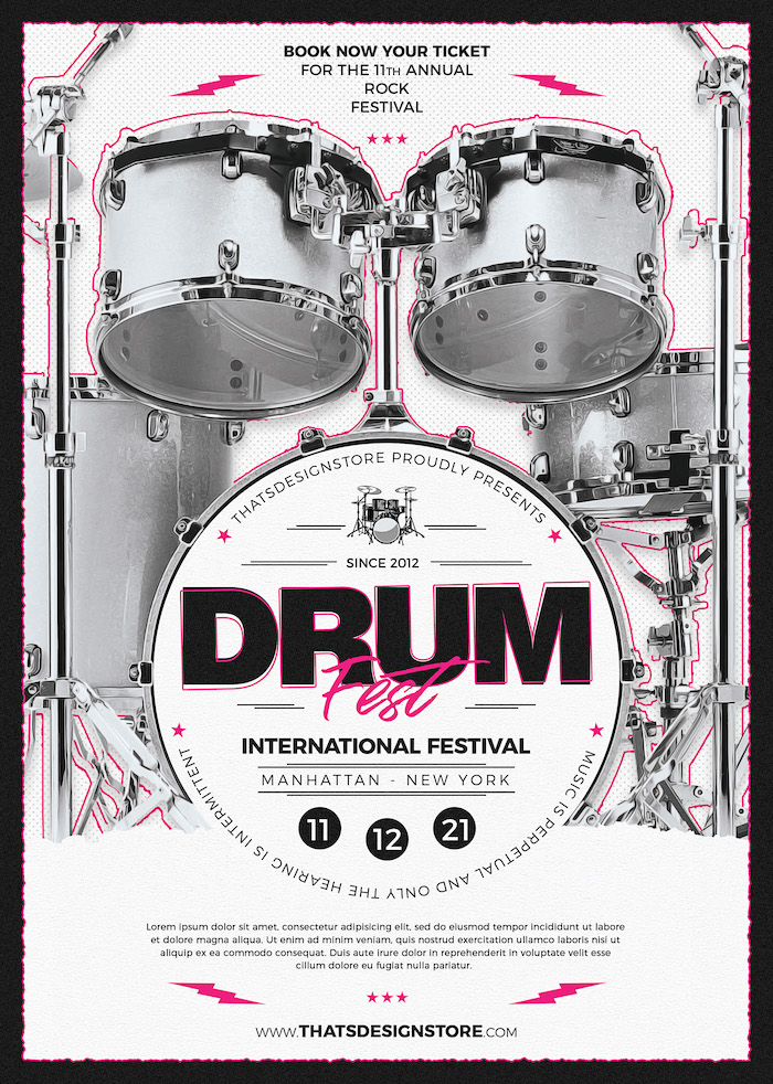 Drum Fest Flyer Template psd download to promote Lessons, concerts, festivals, Indie Rock Band, Alternative, Pop rock Gig.