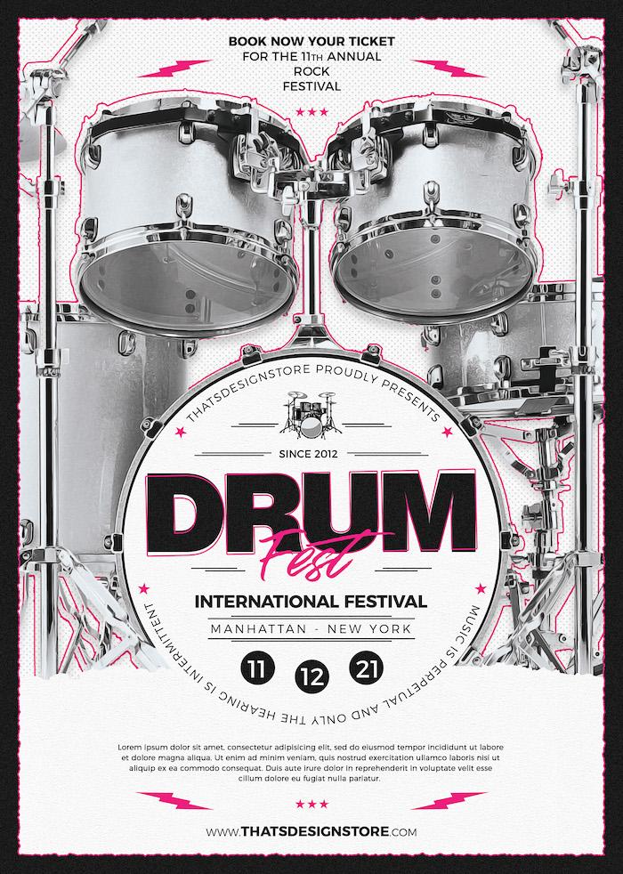 Drum Fest Flyer Template | Concert Flyer Design Store