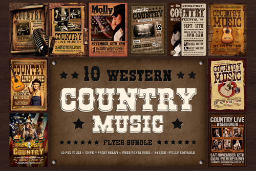 Country music posters flyers templates Western Design psd