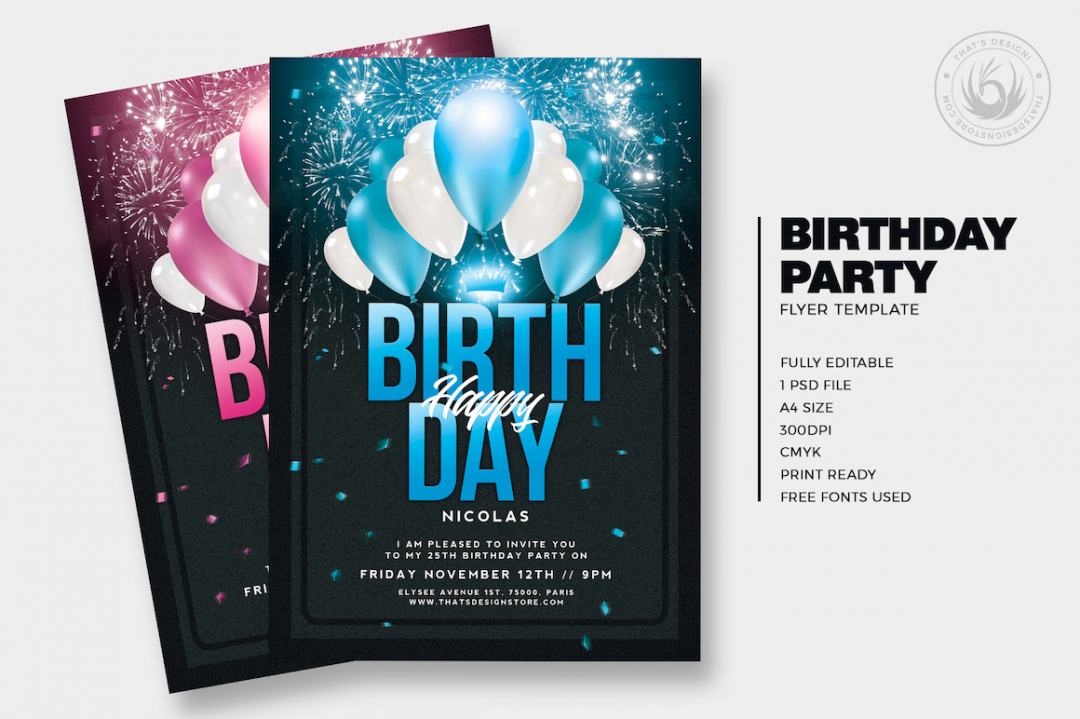 Birthday party invitations Flyer templateisdesigned to promote your Birthday Party, a club anniversary, a Gold party Event.