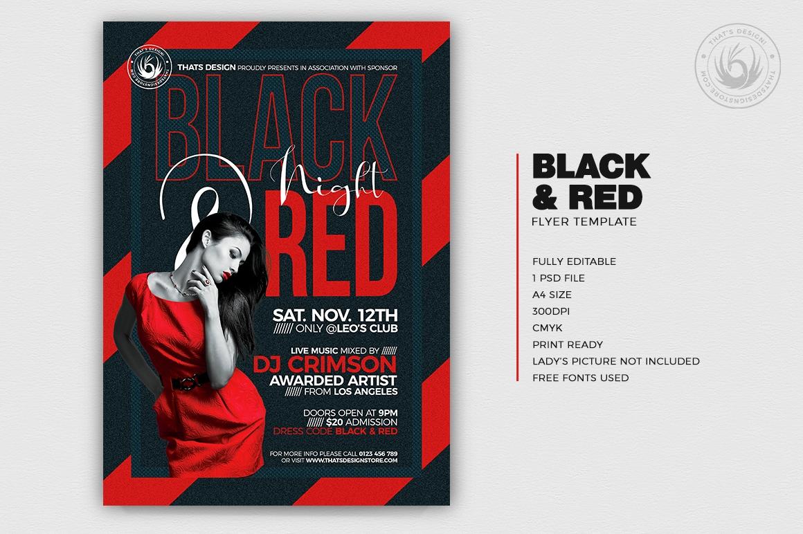 Black & Red Flyer Template psd V5