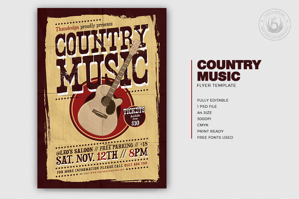 Country music Flyers Template PSD download V4, Wanted flyers farwest Western music template, rodeo bike cowboy in a coyote bar