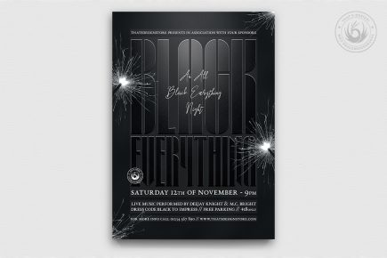 All Black Party Flyer Template Psd download V5