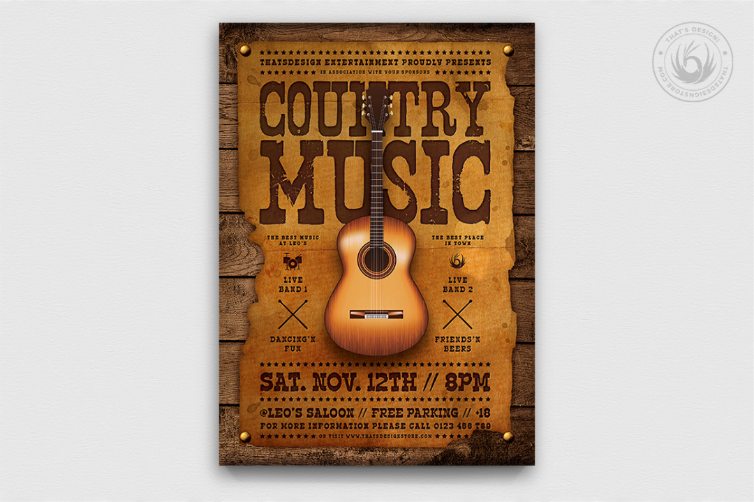 Country Music Flyer Template PSD download, Wanted flyers farwest Western music template, rodeo bike cowboy in a coyote bar