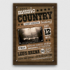 Country music Flyer Template PSD download V2, Wanted flyers farwest Western posters, rodeo bike cowboy in a coyote bar