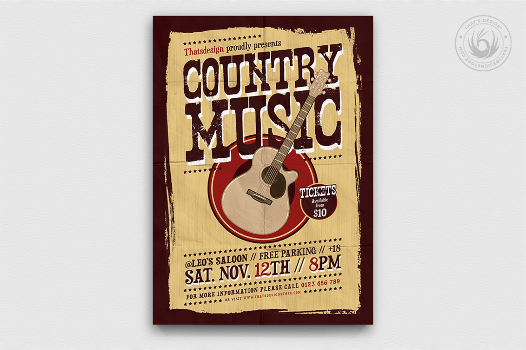 Country music Flyer poster Template PSD download V4, Wanted flyers farwest Western music template, rodeo bike cowboy in a coyote bar