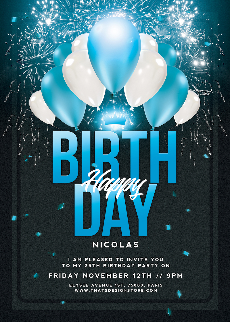 birthday party invitations flyer template
