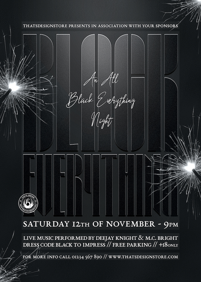 all black party flyer template v5