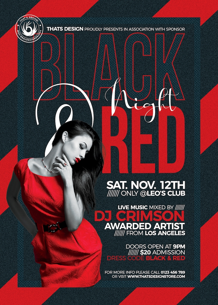 Black & Red Flyer Template V5, Party Club Flyers Posters, Psd design