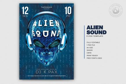 Alien sound Dj flyer template