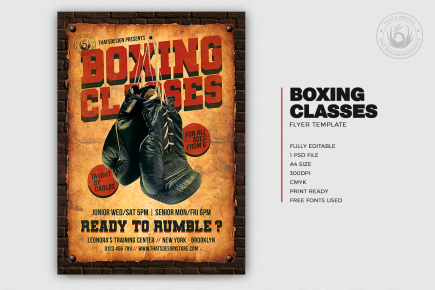 Vintage Boxing Classes Flyer Poster psd Template download