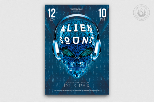 Alien sound Dj flyer template