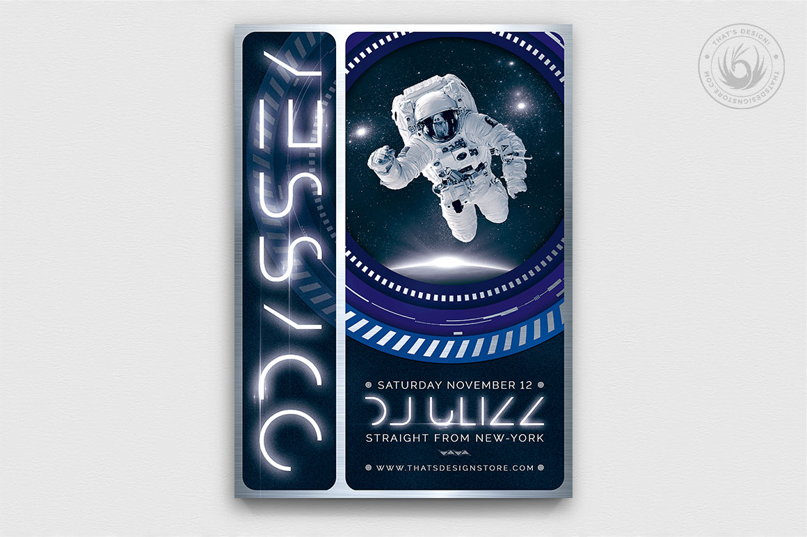 Odyssey Flyer Template PSD download V2 Themed party poster design
