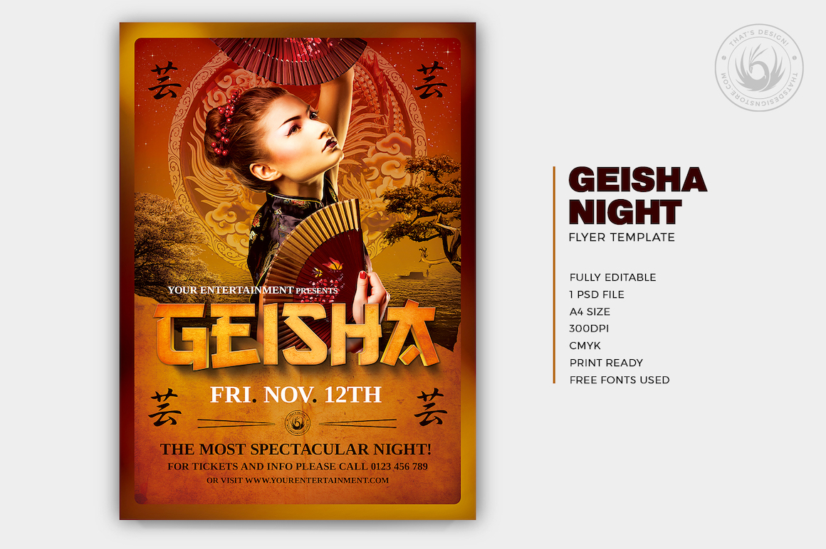 Geisha Party Flyer Template psd V.3, japanese asian posters for photoshop