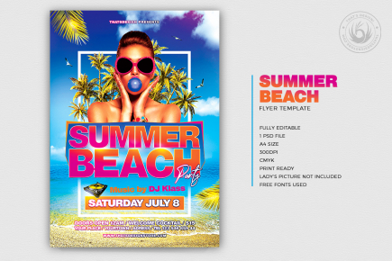 Beach Party Flyer PSD Template V3 for any festival, club or cocktails bar event. Pool or garden party with Dj set mixing chillout, lounge music for a tropical sunset, summer camp holidays