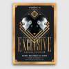 Download this flyer design for an exclusive party or VIP event. elegant, glamour, luxury celebration, golden psd posters