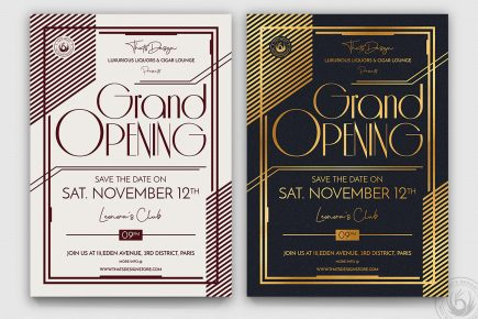 Restaurant Grand Opening Flyers Posters PSD Templates, invitations, night club, lauching party, luxury events