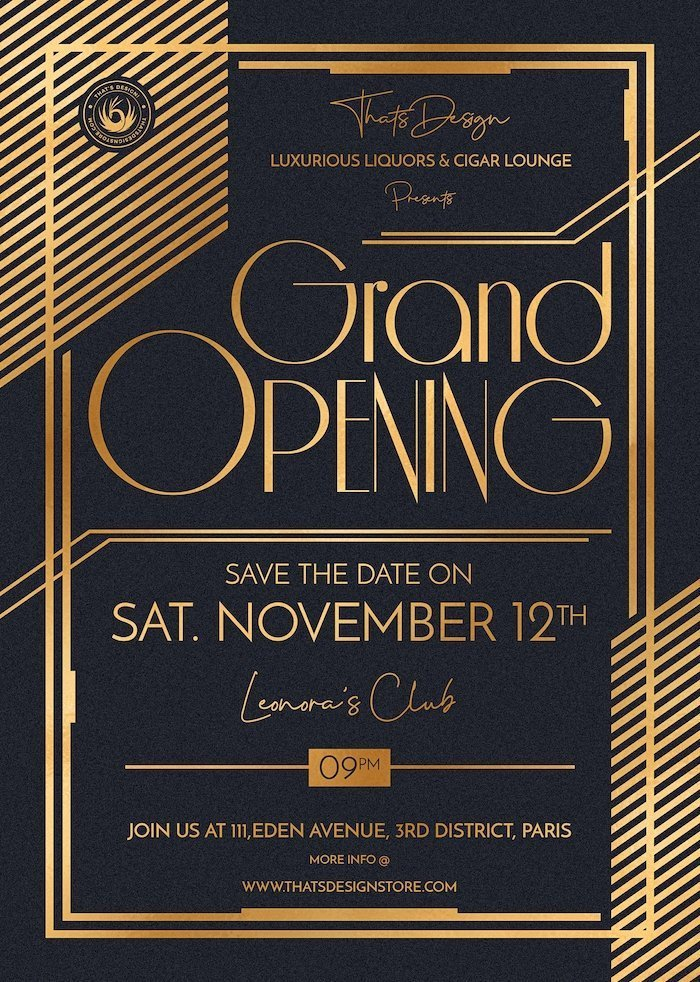 Grand Opening Flyers Annoucements Invitations Posters Luxury Events