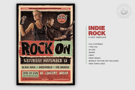 Indie Rock Flyer Template psd V4, Concert posters