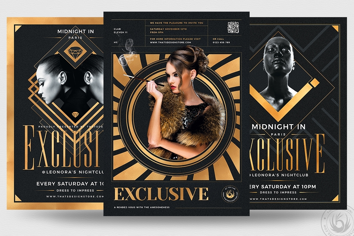 Exclusive Party Flyer Bundle Golden psd posters
