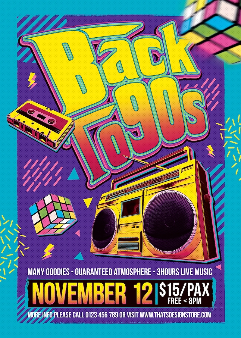 Back to the 90s Flyer Template
