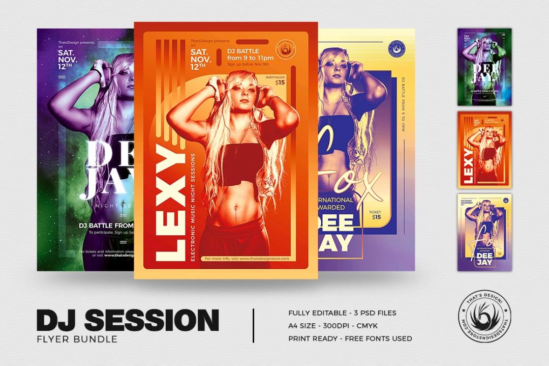 Club & Dj Session Flyer Poster templates Bundle V3