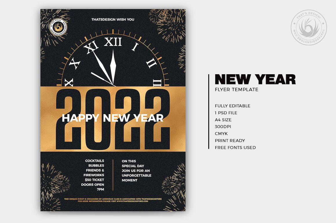 New Year Eve Flyer poster psd design, golden night party