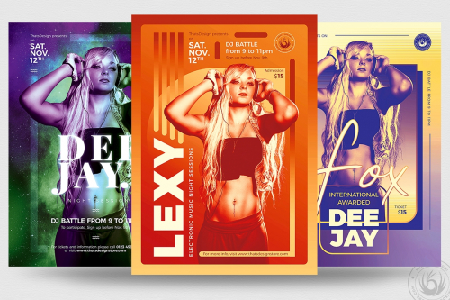 Club & Dj Session Flyer Poster templates Bundle V3