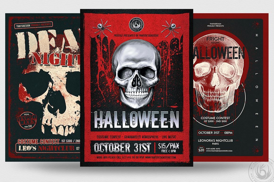 Halloween PSD flyer templates V8
