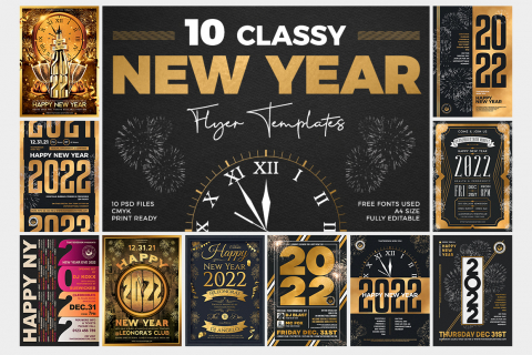 10 New Year Flyer Templates PSD download Bundle