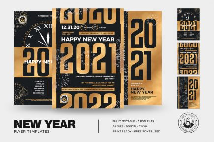 New Year Flyer Templates PSD Bundle V3