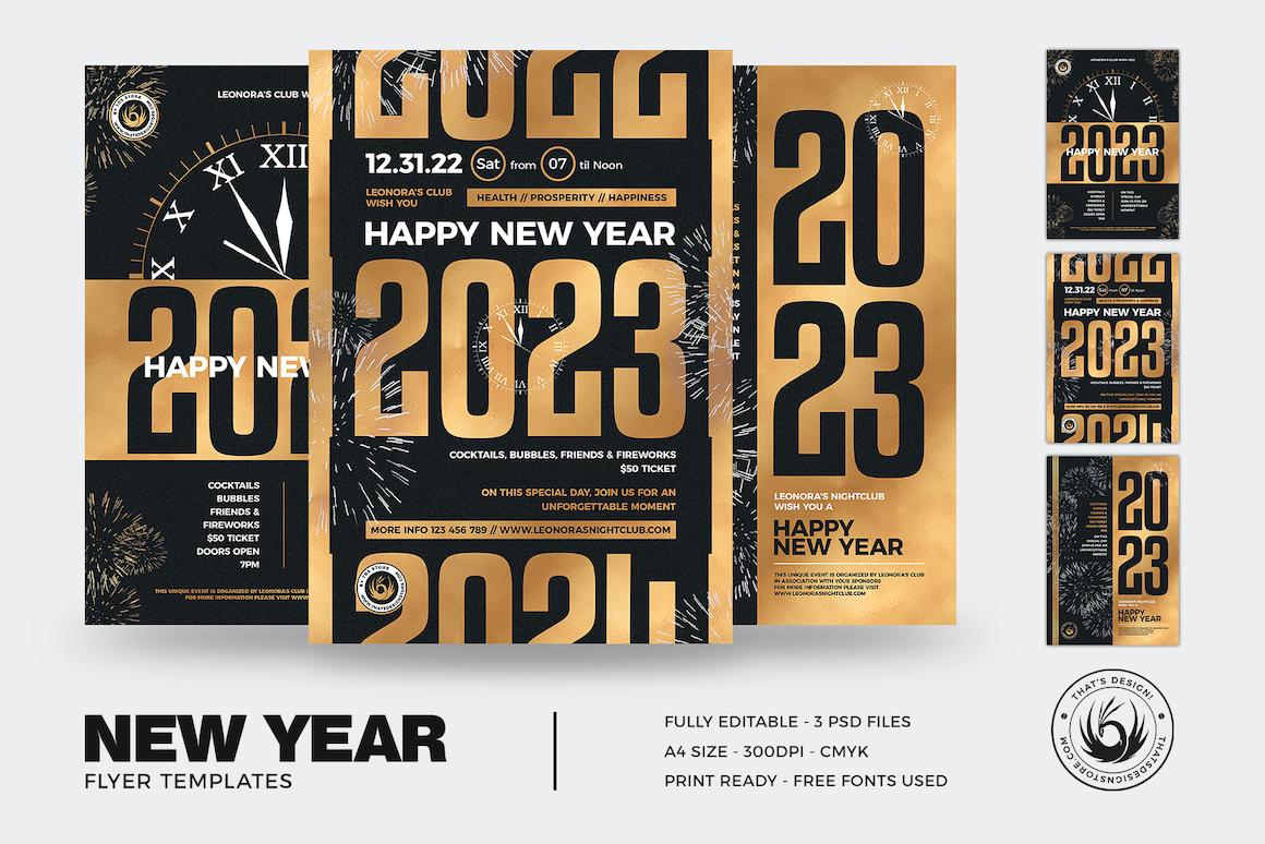 New Year Flyer Templates PSD Bundle V3