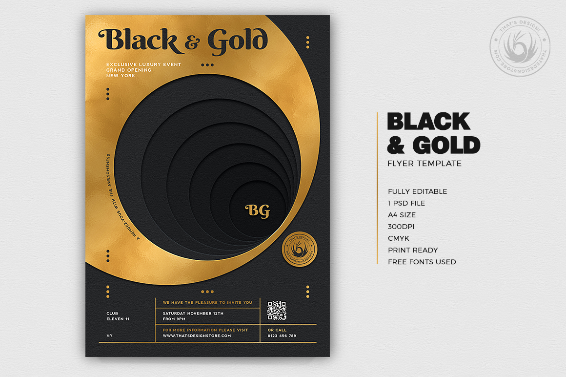 Minimal Black & Gold Flyer Template PSD download V11, cigare lounge, luxury event