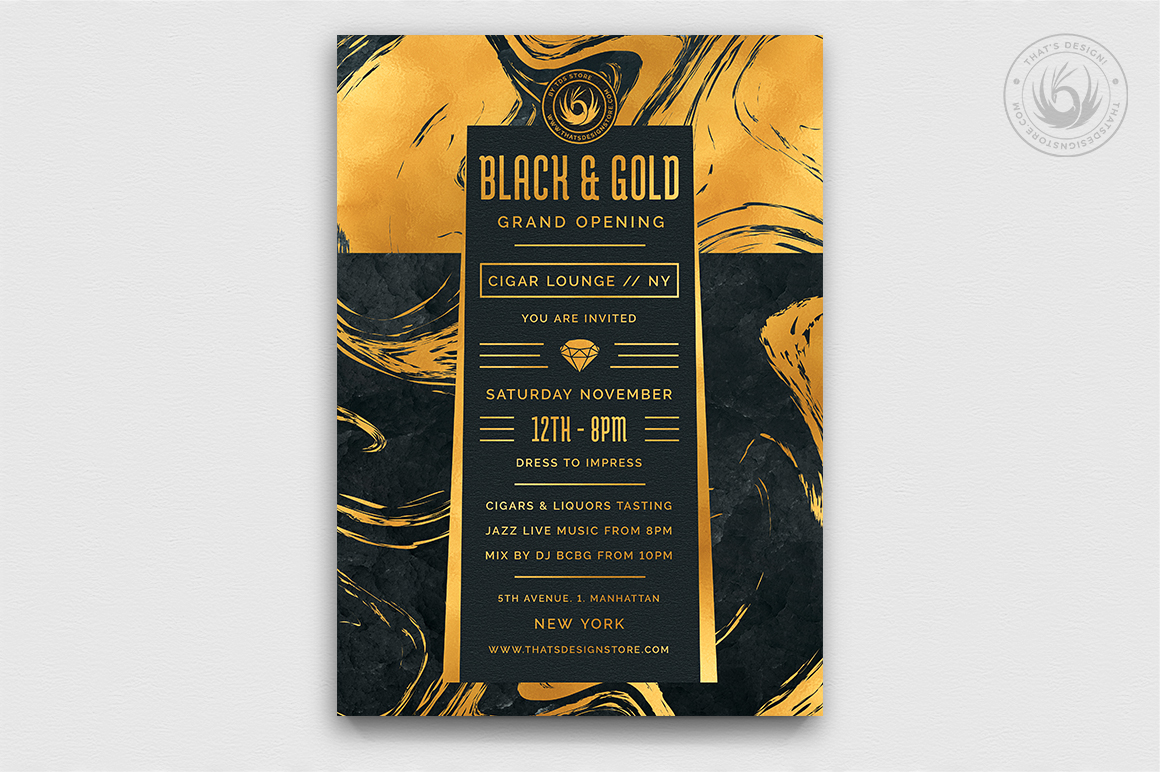 Minimal Black & Gold Flyer Template V12