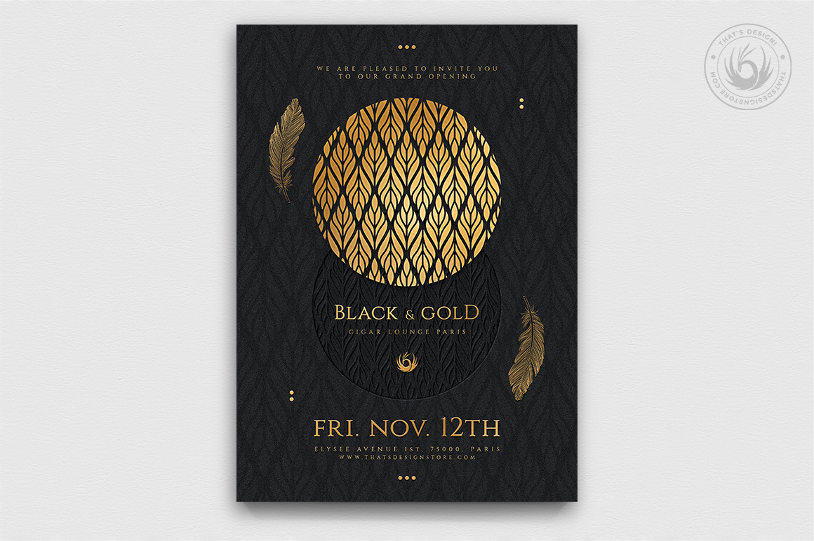 Minimal Black & Gold Flyer Template V13