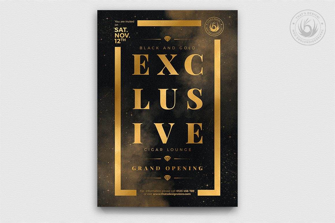 Minimal Black & Gold Flyer Template V14