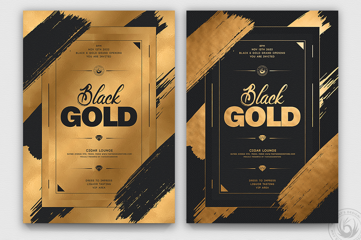 Minimal Black & Gold Flyer Template PSD V15